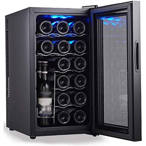 LYGACX Weinkühlschrank für 28 Flaschen, Weinkühler mit Einer Temperaturzone 11-18 ° C, Weinkühlschrank Single Zone Touchscreen, Freistehender Weinkühler, Schwarze Glastür,A
