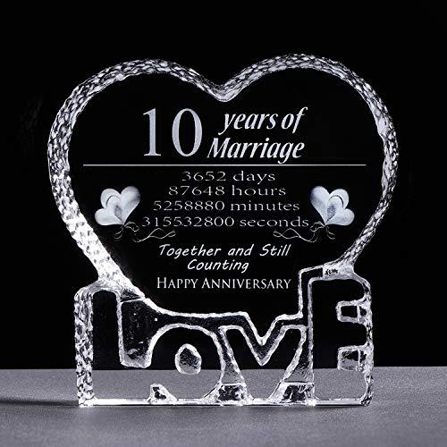 10 Year Wedding Anniversary Gift 10th Anniversary Paperweight Keepsake Gifts for Her Wife Girlfriend