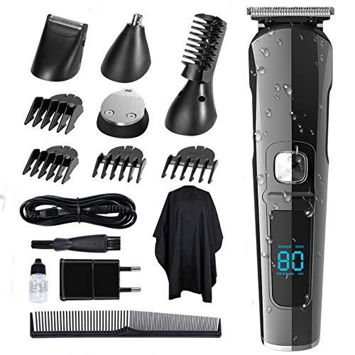 SUERW Haarschneidemaschine, 5-in-1 Haarschneider Herren Haartrimmer Barttrimmer Präzisionstrimmer Langhaarschneider Männer Wasserdicht, LED-Anzeige, 4*Kamm Aufsätze