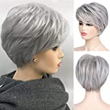 Baruisi Grey Wig Short Layered Natural Synthetic Wig with Bangs Heat Resistant Replacement Hair Wig for Women