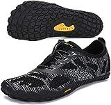 SAGUARO Hombre Mujer Zapatillas de Training Yoga Entrenamiento Gym Interior Transpirables Zapatos Correr Barefoot Resistentes Comodas Zapatos Gimnasio Asfalto Playa Agua Exterior(034 Negro, 44 EU)