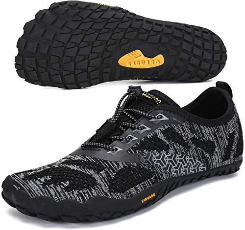 SAGUARO Hombre Mujer Minimalistas Zapatillas de Deporte Trail Running Calzado Caminar Cómodas Senderismo Ciclismo Ligeras Deportivas Andar Trekking Montaña Agua Exterior Interior(034 Negro, 43 EU)