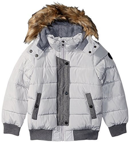 Steve Madden Big Girls' Fashion Outerwear Jacket (More Styles Available), Fashion Bomber/Silver Gray, 7/8