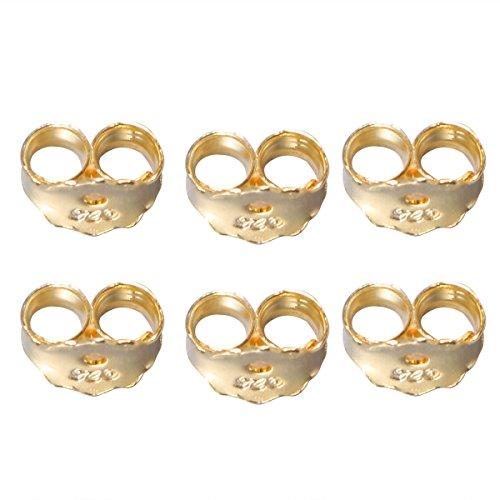 Healifty 6 chiusure per orecchini, a forma di dado dell'orecchio, di sicurezza sulla schiena (oro)