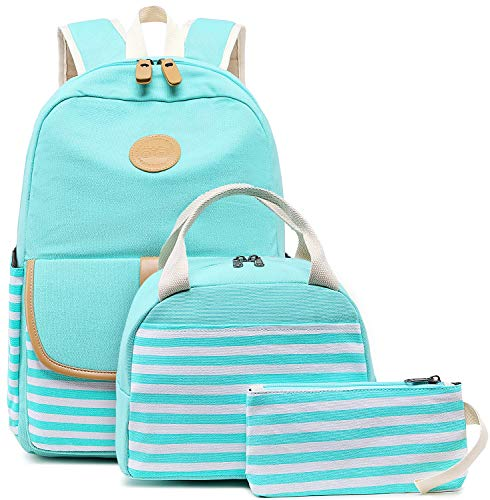 BLUBOON Canvas Bookbags School Backpack Laptop Schoolbag for Teens Girls High School (Stripe Blue-8893)