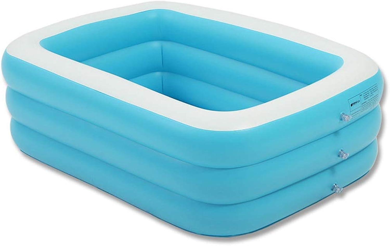 FuManLi Tragbares Badewannen-Schwimmzentrum Familien-aufblasbares Pool für Kinder mit elektrischer Luftpumpe, Home SPA-Badewanne für Erwachsene, Faltbare Trnkbadewanne, Blau und Wei (gre   S)