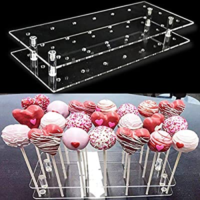 Goabroa Cake Pop Display Stand, 21 Hole Clear Acrylic Lollipop Holder Weddings Baby Showers Birthday Parties Anniversaries Halloween Candy Decorative (21 Hole) from ANDGOOO