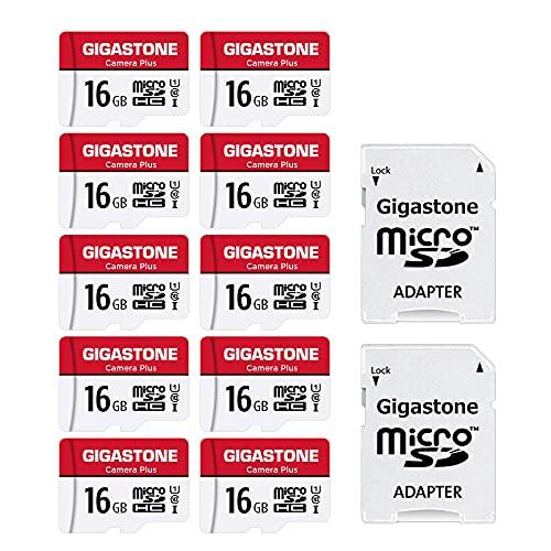 Gigastone Micro SD Card 16GB マイクロSDカード フルHD 10Pack 10個セット 2 SDアダプタ付 2 ミニ収納ケース付 w/adapter and case SDHC U1 C10 85MB/S 高速 micro sd カード Class 10 UHS-I Full HD 動画