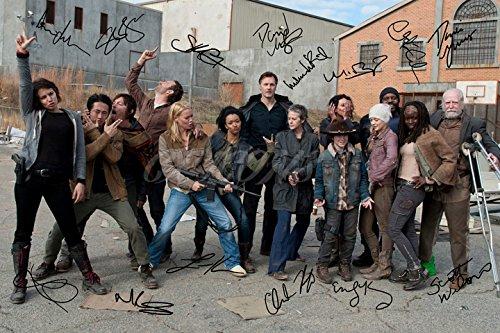 Foto autografiada por 14 miembros del reparto de The Walking Dead, gran calidad, tamaño DIN-A4