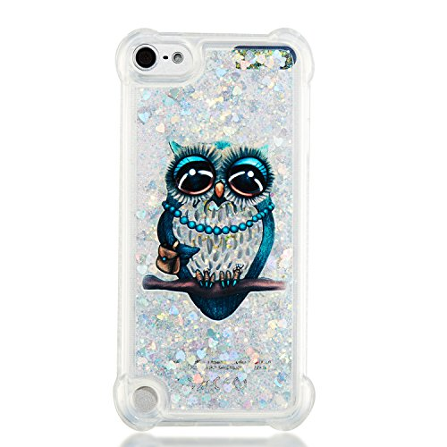 Leton Coque ipod Touch 6 Liquide Paillette Silicone Transparente Étui Housse ipod Touch 5 Bling Sables Mouvants Case Glitter Quicksands Protection Bumper Chouette Hibou Bleu Motif Cover