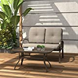 Finefind Patio Loveseat Outdoor 2 PCs Loveseat Furniture Set Garden Patio Love Seat Bench Sofa with Cushions, Gradient Brown