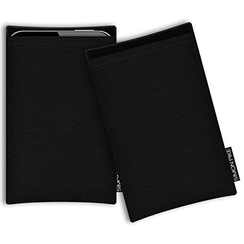 SIMON PIKE Hülle Tasche kompatibel mit Microsoft Surface Duo | Ledertasche Boston in 01 schwarz aus Leder Handyhülle