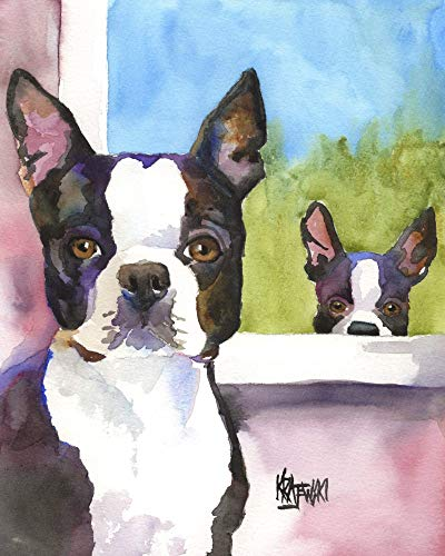 "Boston Terrier Art Print | Boston Terrier Gifts | From Original Watercolor Painting by Ron Krajewski | Hand Signed in 8x10"" and 11x14"" Sizes"