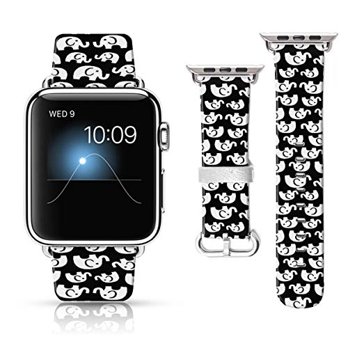 LAACO Leather Band Compatible with iWatch SE Series 6 38mm 40mm, Genuine Leather Fadeless Pattern Printed Vintage Replacement Strap Classic Bands Compatible with iWatch 6/5/4/3/2/1 White Elephant