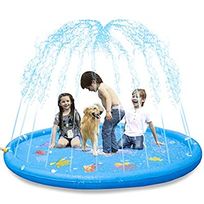 "KKONES Sprinkler Pad & Splash Play Mat 68"" Toddler Water Toys Fun for 3 4 5 6 Years Old Boy Girl,Kids Outdoor Party Sprinkler Toy"