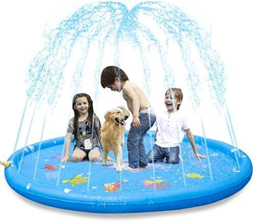 KKONES Sprinkler Pad & Splash Play Mat 3-in-1 68″ Toddler Water Toys Fun for 3 4 5 6 Years Old Boy Girl,Kids Outdoor Summer Toy