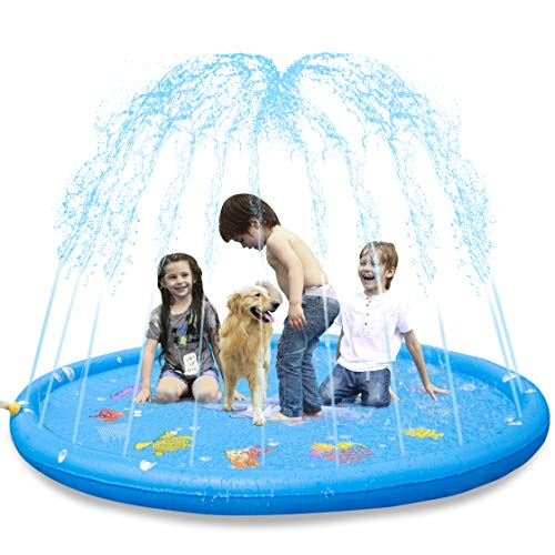 KKONES Sprinkler Pad & Splash Play Mat 68' Toddler Water Toys Fun for 3 4 5 6 Years Old Boy Girl,Kids Outdoor Summer Toy