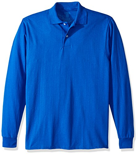 Jerzees Men's Spot Shield Long Sleeve Polo Sport Shirt, Royal