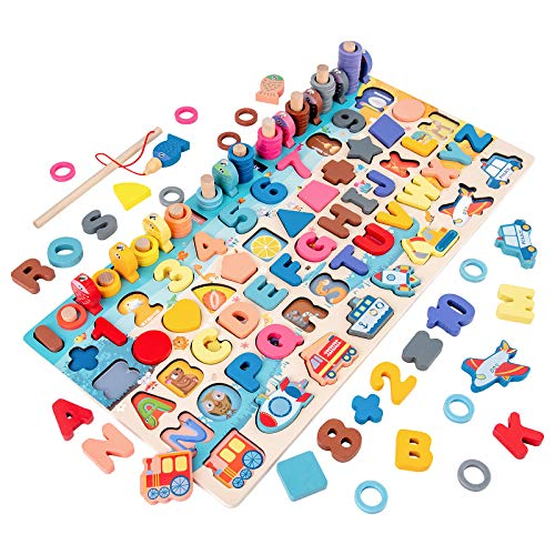 Wooden Number Alphabet Puzzles Sorting Counting Learning Toys for Toddlers,...