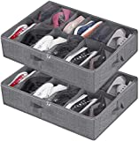 Shoe Storage Organizer Under Bed,Closet Shoes Storage Boxes Bin Container (2 Pack Fits 24 Pairs) with Clear Cover and Reinforced Handle for Sneakers,Clothes, Toys, Gray with Printing