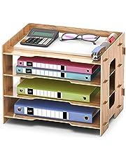 Booxihome Bandeja para cartas Bandeja organizadora de escritorio de oficina A4 Archivo de carta Bandeja de papel para documentos Papelería 4 niveles MDF
