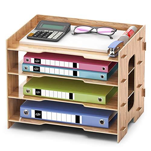 Dokumentenablage Holz Ablagefach, Büro Schreibtisch Briefablage Aktenablage Papierablage für A4 Papier Ordner Ablagesystem Organizer