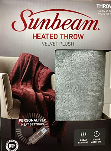 Sunbeam Velvet Plush Electric Heated Throw Blanket with 3 Heat Settings and Auto-Off, Machine Washable (Silver Grey)