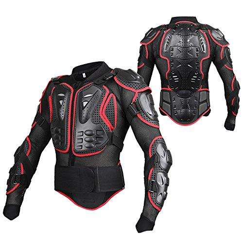 SunTime Motorrad Schutz Jacke Pro Motocross ATV Protektorenjacke mit Rücken Protektor Scooter MTB Enduro für Damen und Herren (Rot & Schwarz, XXL)