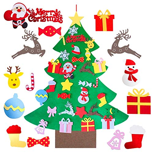 Mansalee DIY Felt Christmas Tree Set, Detachable Ornaments, Wall Hanging Xmas Gifts for Christmas Decorations Christmas Ornamentst