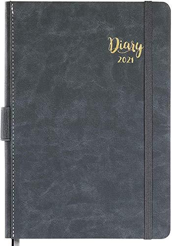 Kalender 2021 A5 - Terminkalender 2021, Daily Planner, Diary, Jan. 2021 - Dez. 2021, Leder-Hardcover mit monatlichen Laschen und Innentasche, 14,8 cm × 21,4 cm-grau
