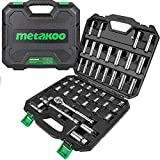 METAKOO 47 Pieces 3/8' Drive Socket Wrench Set with 72-Tooth Pear Head Ratchet and Spark Plug, 6-Point & 12-Point Socket & Ratchet Set, Inch/Metric, 5/16 Inch- 3/4 Inch, 8mm-21mm Sockets, MSS02