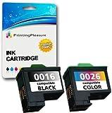 2 Compatibles Lexmark 16 & 26 Cartuchos de Tinta para Lexmark I3 X1100 X1150 X1170 X1180 X1190 X1195 X1200 X1270 X2250 X72 X74 X75 Z13 Z23 Z25 Z25L Z35 Z515 Z617 Z640 - Negro/Color, Alta Capacidad