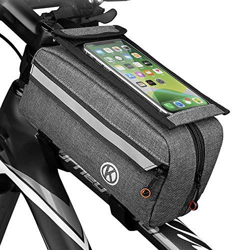 Athyior Bolsa para Cuadro Bicicleta MTB Carretera - 1,5L Bolsa de Bici Impermeable con Bolsa de Pantalla Táctil para Móvil Sombrilla Reflectante para Teléfono de hasta 6,5'