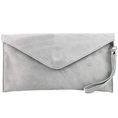 modamoda de - ital embrague/noche bolsa de gamuza T106, Color:gris claro