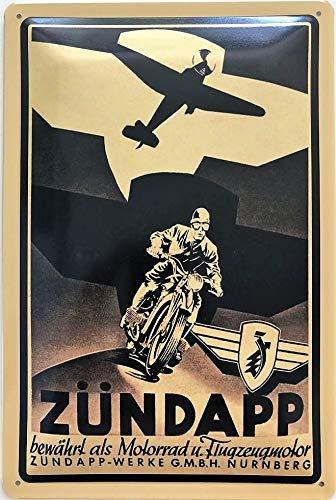 Deko7 metalen bord 30 x 20 cm Zündapp bewezen als motorfiets en vliegtuigmotor