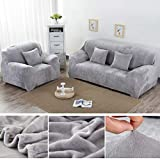 Yeahmart Thick <span class='highlight'>Sofa</span> Covers 1/2/3/4 <span class='highlight'>Seater</span> Pure Color <span class='highlight'>Sofa</span> Protector Velvet Easy Fit Elastic Fabric Stretch Couch Slipcover (Silver Grey, 2 <span class='highlight'>Seater</span> 145-185cm)