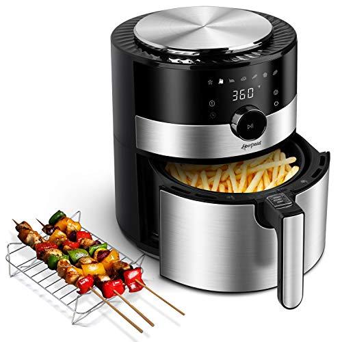 Hoepaid Heißluftfritteuse 3,5L,Heissluft Fritteusen Air Fryer mit 7 Programmen,Friteuse mit Digitalem LED-Touchscreen und Drehknopf,Zeit und Temperatur können Eingestellt Werden,1350W,Ohne Öl
