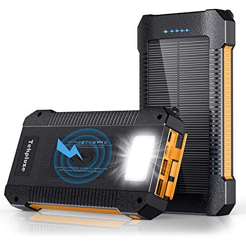 Solar Power Bank 30000 mAh, Wireless Portable Charger Solar Panel External Battery Type-C 5V Dual...