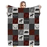 Personalized Camo Moose, Deer,Rabbit,Wolf and Bear Woodland Minky Dot Baby Blanket for Boy Kids Girl, Custom Name Blanket