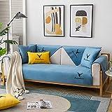 Homeen Sala Funda Protectora Sofa Cubiertas Delgadas de cojín de sofá de Felpa,Tirar sofá Bordado,Cubierta de Protector de sofá Antideslizante nórdico Moderno-Azul Claro_70 * 120cm