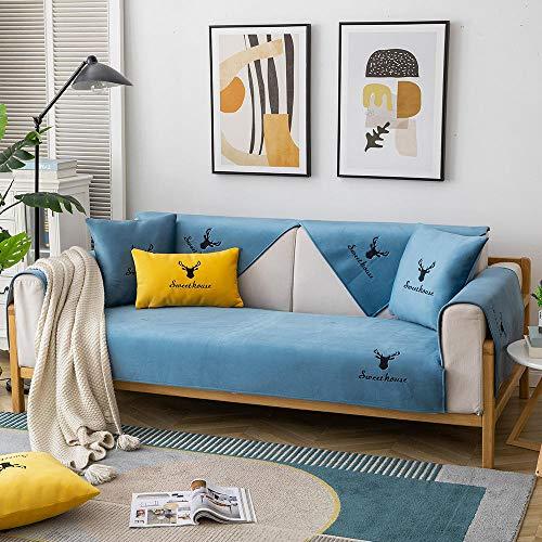 1/2/3/4 plazas Cubierta Protectora para sofá Cubiertas delgadas de cojín de sofá de felpa,tirar sofá bordado,cubierta de protector de sofá antideslizante nórdico moderno-azul claro_110 * 240 cm