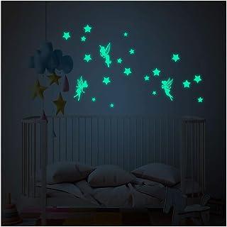 Kuizhiren1 Stickers muraux phosphorescents pour chambre denfant Motif /étoiles lumineuses M/ét/éores 9 plan/ètes phosphorescentes