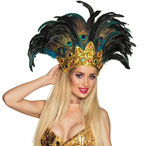 NET TOYS Ornamento da Samba con Piume di Pavone | dai Colori Vivaci | Eccitante Ornamento Femminile per Capelli Carnevale di Rio | Adatto al Meglio a Feste di Carnevale
