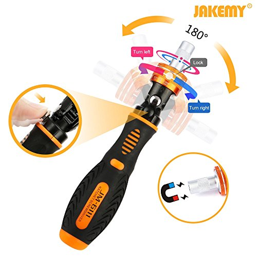 Jakemy Home Rotatable Ratchet Screwdriver Set, 69 in 1 Household Repair Toolkit, Disassemble Magnetic Kit for Furniture/Car/Computer/Electronics Maintenance