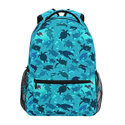 Qilmy Sea Turtle Laptop Backpack Waterproof College Students Bookbags Middle School Bookbag Computer Daypack for Teen Boys Girls