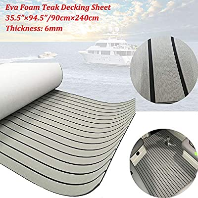 "EVA Faux Teak Decking Sheet For Yacht/Boat Non-Slip Pads 94.5""x35.5"" Light Grey with Black Lines"