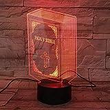 ZWANDP 3D Lámpara táctil Libro de la Sagrada Biblia 7 Cambio de color USB Jesús Luz de Cumpleaños Led Noche Luz Ilusión Luces s Lámpara s Niños Niños