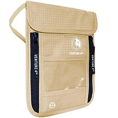 Venture4th Passport Holder Neck Pouch With RFID Blocking – Hidden Neck Wallet (Beige)