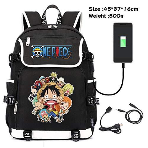 pZgfg One Piece Luffy Ace USB Interface Charge Anime Cosplay Mochila Escolar para Computadora Portátil para Niños Y Niñas Unisex Hombre Mujer Backpack Viajes Rucksack E