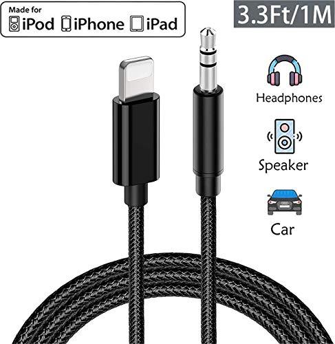 Cavo Audio per iPhone ausiliario per iPhone 3,5mm Cavo Aux in auto, adattatore audio stereo maschio 3,5 mm compatibile con iPhone 7/8/X/XR/XS/11 Home/Autoradio, altoparlanti, cuffie, 1M (Nero)
